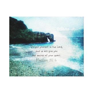 高揚の感動的な聖書の詩の賛美歌の37:4 キャンバスプリント