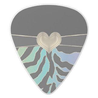 高潔で崇高な心のパステル調のシマウマ ホワイトデルリン ギターピック