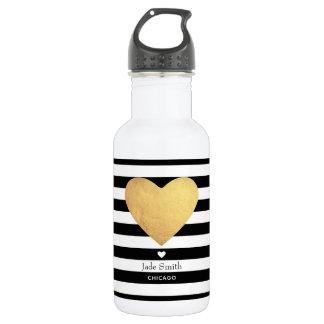 高潔で崇高な心はとの縞で飾ります ウォーターボトル