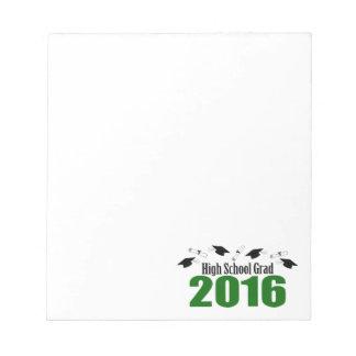 高等学校の卒業生2016の帽子および免状(緑) ノートパッド