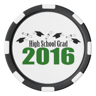 高等学校の卒業生2016の帽子および免状(緑) ポーカーチップセット