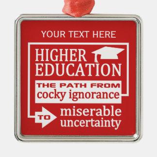 高等教育のユーモアの文字及び色のオーナメント シルバーカラー正方形オーナメント