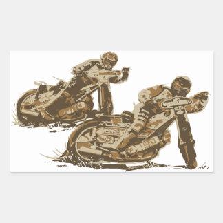 高速自動車道路のオートバイのレーサー 長方形シール
