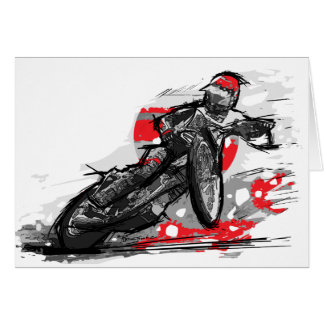 高速自動車道路平らなトラックオートバイのレーサー カード