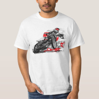 高速自動車道路平らなトラックオートバイのレーサー Tシャツ