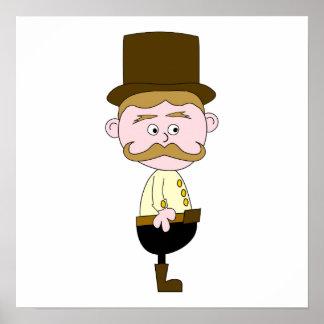 髭およびシルクハットを持つ紳士 ポスター