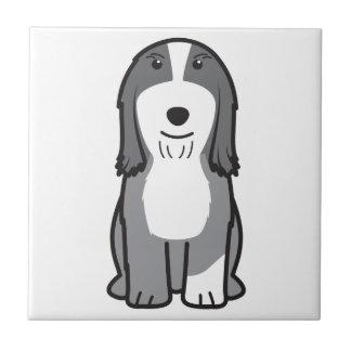 髭があるコリー犬の漫画 正方形タイル小