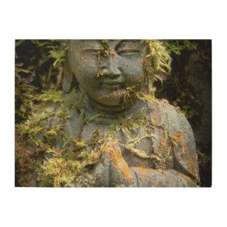 髭がある仏の彫像の庭の自然の写真撮影 ウッドウォールアート