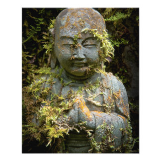 髭がある仏の彫像の庭の自然の写真撮影 チラシ