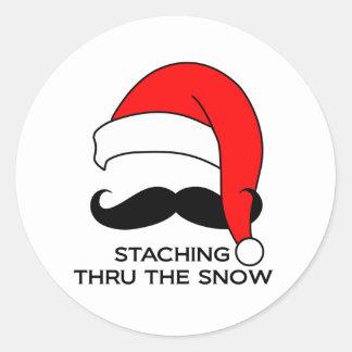 髭のクリスマス-雪を通したStaching ラウンドシール