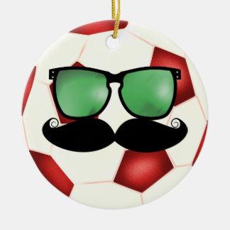 髭のサッカーボールのオーナメント セラミックオーナメント