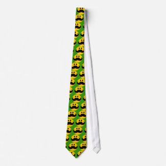 髭のスマイリー(カスタマイズ可能な背景色) オリジナルネクタイ
