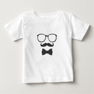 髭のヒップスターのBowtieガラス ベビーTシャツ