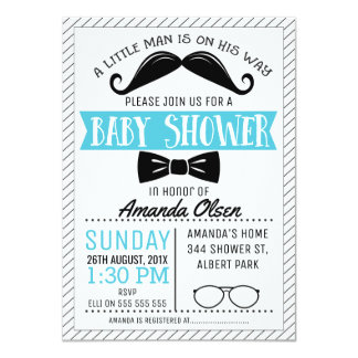 髭の小さい紳士のベビーシャワーの招待状 カード