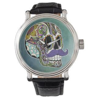 髭の砂糖のスカルの腕時計 腕時計