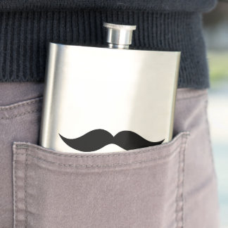 髭の輪郭の上品な紳士のフラスコ フラスク