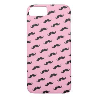 髭の髭のおもしろいなピンクの黒いiPhone 7の箱 iPhone 8/7ケース