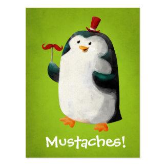 髭を搭載するかわいいペンギン ポストカード