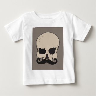 髭を搭載するスカル ベビーTシャツ