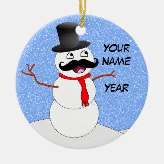 髭を搭載する名前入りなヴィンテージの雪だるま セラミックオーナメント