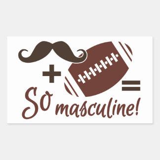 髭及びフットボールのステッカー 長方形シール