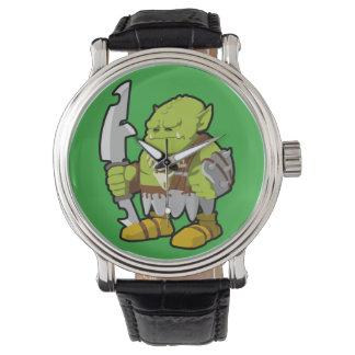 鬼のヴィンテージ革バンドの腕時計 腕時計