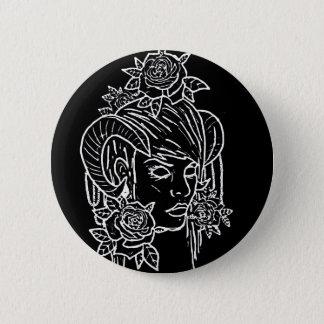 鬼の角の女の子の入れ墨のデザイン 5.7CM 丸型バッジ