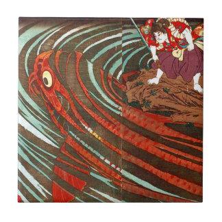 鬼若丸の鯉退治、国芳モンスターのコイ、Kuniyoshi、Ukiyo-e タイル