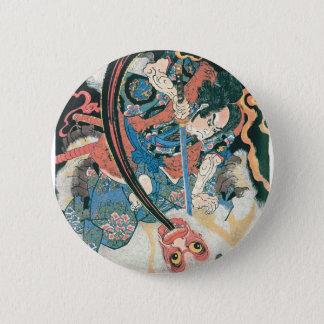 鬼、古代日本のな絵画を殺している武士 5.7CM 丸型バッジ