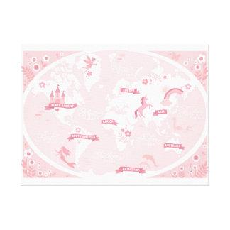 魅了されたピンクの世界地図-子供のキャンバスの芸術 キャンバスプリント