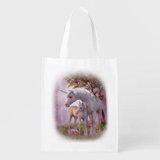 魅了されたユニコーンの再使用可能な買い物袋 エコバッグ
