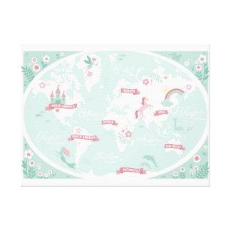 魅了された世界地図-子供のキャンバスの芸術 キャンバスプリント