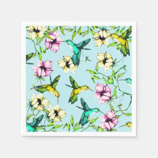 魅了された庭の水彩画のハチドリ及び花 スタンダードカクテルナプキン