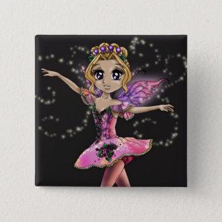 魅了された庭ボタンの妖精 5.1CM 正方形バッジ