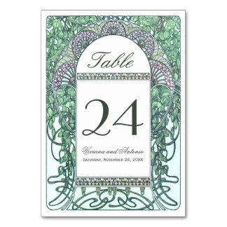 魅了された庭園の結婚式のテーブル数 カード