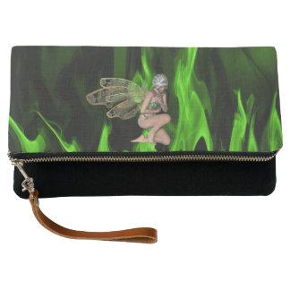 魅了された緑の炎 クラッチバッグ