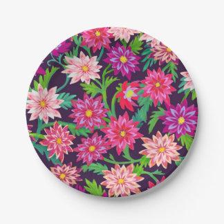 魅了された花の庭ピンクの紙皿 ペーパープレート
