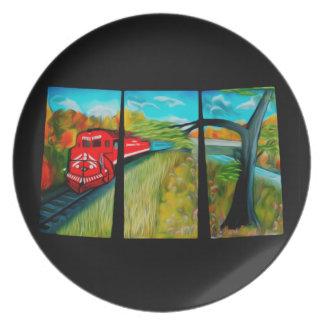 魅了された赤い列車の道-夢みるような蜃気楼 プレート