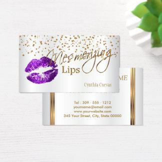 魅了の唇の金ゴールドの紙吹雪及び紫色の唇 名刺