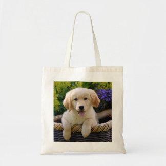 魅了のGoldie犬の子犬、綿 トートバッグ