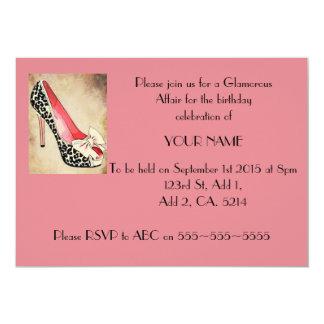 魅力のヒョウのかかとのピンクの招待状 カード