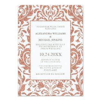魅力的でエレガントなのどのばら色の金ゴールドのグリッターのダマスク織の結婚式 カード