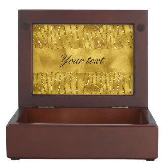 魅力的で模造のな金ゴールドのグリッターのシマウマは縞で飾ります ジュエリーボックス