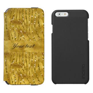 魅力的で模造のな金ゴールドのグリッターのシマウマは縞で飾ります INCIPIO WATSON™ iPhone 6 ウォレットケース