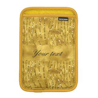 魅力的で模造のな金ゴールドのグリッターのシマウマは縞で飾ります iPad MINIスリーブ