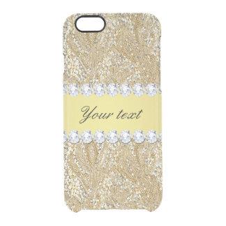 魅力的で模造のな金ゴールドのスパンコールおよびダイヤモンド クリアiPhone 6/6Sケース