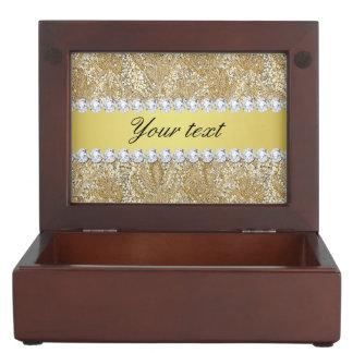 魅力的で模造のな金ゴールドのスパンコールおよびダイヤモンド ジュエリーボックス