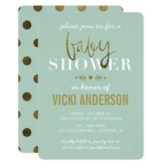 魅力的で模造のな金ゴールドのモダンのベビーシャワー招待状 カード