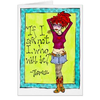 魅力的で粋な女性のカーボーイのイラストレーション グリーティングカード
