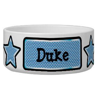 魅力的で青くきらきら光るな星及びラベルのペットボウル 犬用ごはん皿